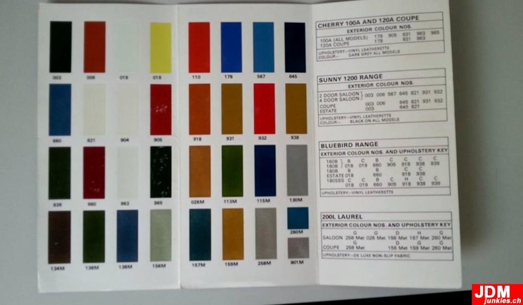 240z Datsun Colour Code Chart Brochure Jdmjunkies